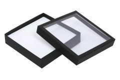 Necklace Jewellery Black Opened Box With C'Thru Clear Lid - Crystal - Finer Packaging Ltd - CR6